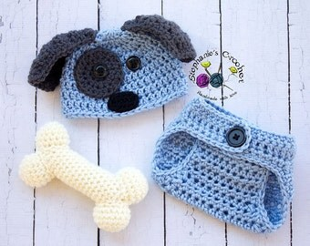 Crochet Newborn baby boy Puppy Hat, Diaper Cover, & Bone, PHOTO PROP, Puppy hat and diaper cover set