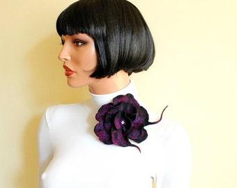 Purple black red wine brooch felted brooch fancy flower felt art flower purple broach eco fashion pin unique