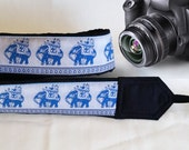 Lucky Elephants Camera Strap. Ethnic Camera Strap,  White Blue Camera Strap