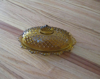 """AMBER HOBNAIL BUTTER Dish 7 3/4"""" Long 4 3/4"""" Wide"""