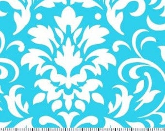 White on Turquoise Damask Fabric ---- Damask Fabric --- Fabric By The Yard