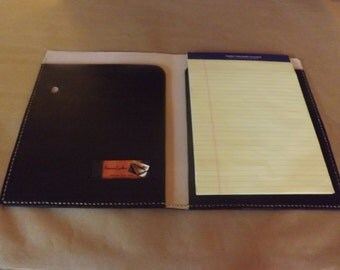 Superb Large Leather Portfolio /Notebook Holder, Black, Handmade Hand Stitched,  Fits 8 1  Leather Resume Portfolio