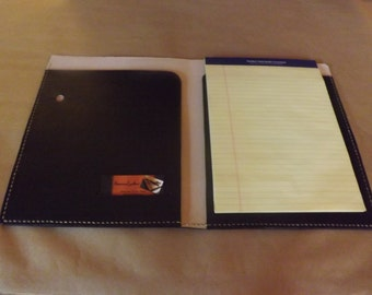 Large Leather Portfolio /Notebook Holder, Black, Handmade Hand Stitched,  Fits 8 1  Leather Resume Folder