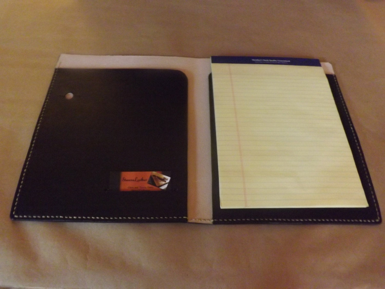 Large Leather Portfolio Notebook Holder Black Handmade Hand