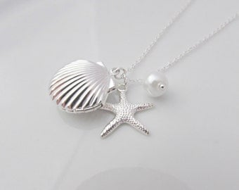 Shell Locket Necklace, Mermaid Locket Necklace, Starfish Necklace, British Seller UK, Gift for Girl, Under the Sea, Bridesmaid Gifts, BFF