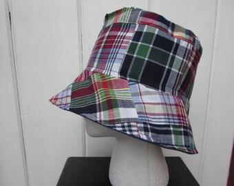 "Ladies' Madras Bucket Hat -  Sun Hat  - Madras Cloche - One Size Fits Most (23"")"