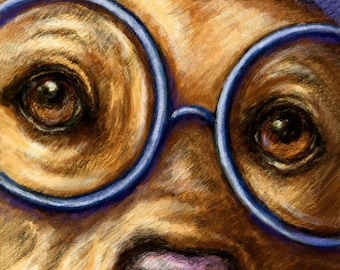 Yellow Labrador Retriever Art Print of Lab Wearing Glasses