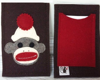 Sock Monkey iPhone Sleeve in Wool Felt Applique, Red, Brown and White Sock Monkey, Customize for Any Phone!