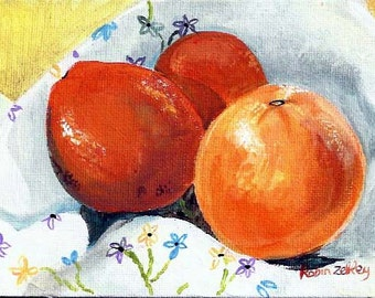 Art Print Still Life Painting Oranges on Vintage Tea Towel with Embroidery, Painting of Fruit, Daily Painting, Unique Gift Idea, kitchen art