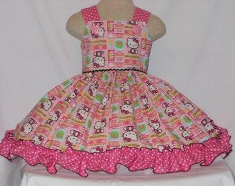 Hello Kitty Dress Girls Unique, Handmade, Hello Kitty Dress,Custom Boutique Dress, Pageant Dress, Birthday Dress, sz 6 mo to girls sz 8oll