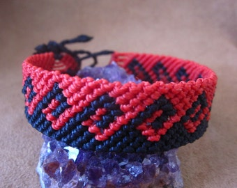 Red and Black Macrame Wave Friendship Bracelet Handmade Surf Wristband