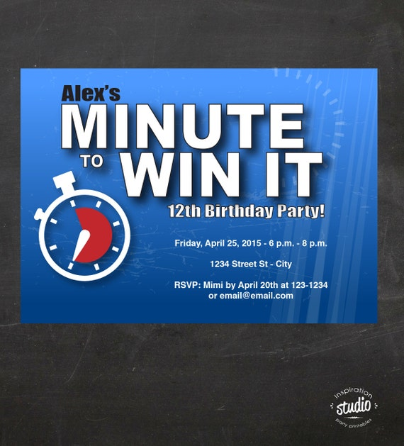 Minute To Win It Inspired Birthday Party Invitation Minute To