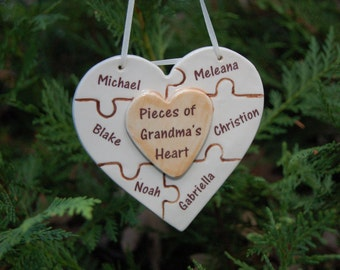 Pieces of Grandma's Heart Handcrafted Porcelain Puzzle Heart, Mom's Heart, Grandmother Gift, Grandparent Gift, Grandparent Gift
