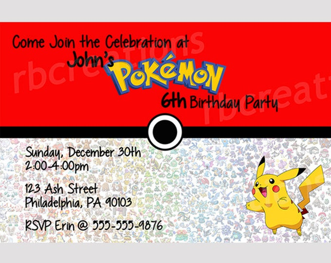 Pokemon Birthday Party Thank You Note, Pokemon Party, Pikachu Party, Pikachu Birthday, Pokeball Party Pokeball Birthday - Digital Printable