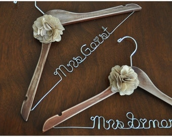 Distressed Vintage Personalised Wedding Dress Hanger with Flower or Bow