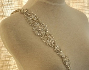 sale Crystal and Rhinestone Beaded Applique Bridal Belt Wedding Sash Applique