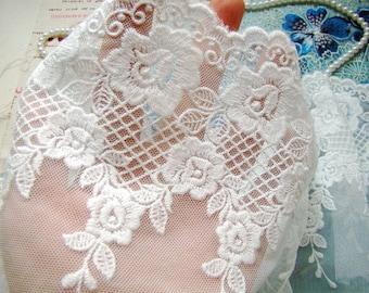 cotton lace trim with floral , bridal trim lace 2 yards