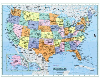 "UNITED STATES Wall Map USA Poster 22""x17"" or 32""x24"" - Large Print Paper or Laminated- 2016"