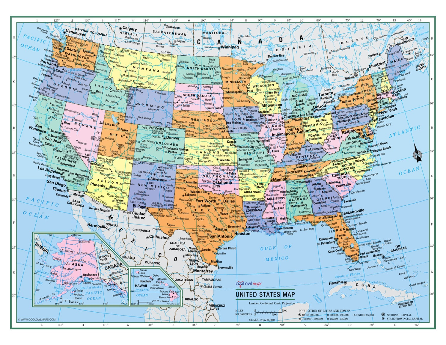 UNITED STATES Wall Map USA Poster X Or - Large us road map poster