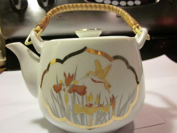 Pretty White Vintage Asian Porcelain Tea Pot With Wicker