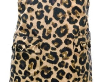 Apron Girls Leopard  with Free Embroidery