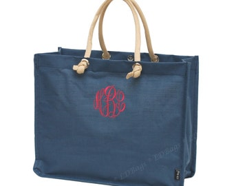 Juco Tote Bag Navy All Natural with Free Embroidery