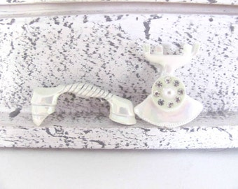 Vintage Telephone Brooch, Pin, 1960's Enamel Telephone Brooch, White Telephone Scatter Pins, NOS Brooch, Pin, 1960's Brooch, Jewelry