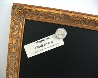 ORNATE Gold MAGNETIC CHALKBOARD Weddings Kitchen Decor Blackboard Photo Memo Note Gold Leaf Wood Frame Restaurant Menu Chalk Board Magnet