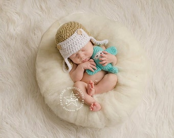 Newborn Pilot Cap - Airplane Photography Prop - Crochet/Knit  Aviator Hat