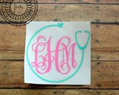 Nurse Monogram with Stethoscope - TWO colors