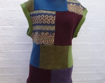 Celtic design tank top patchwork pullover Repurposed sweater mens women's clothing Color block wool top handmade UK Eco friendly boho tank.