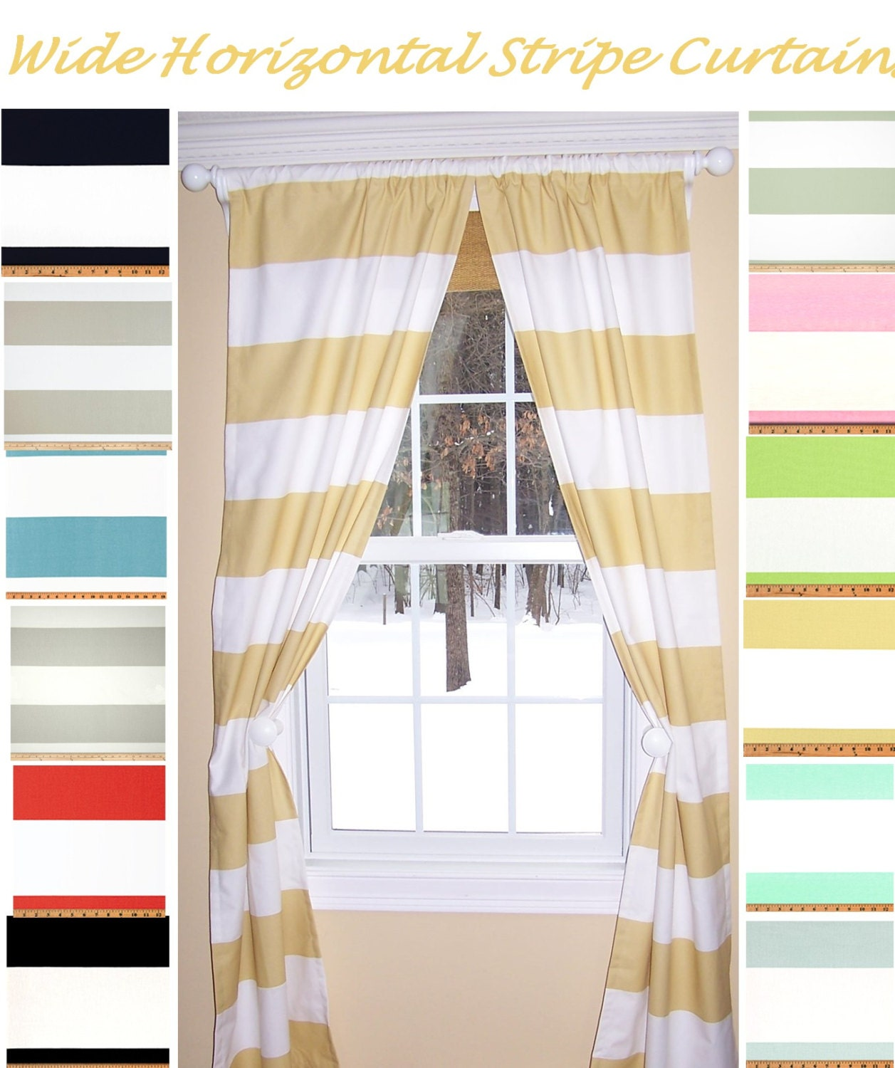 Thick Stripe Extra Wide Horizontal Stripe Curtain Panels Blue