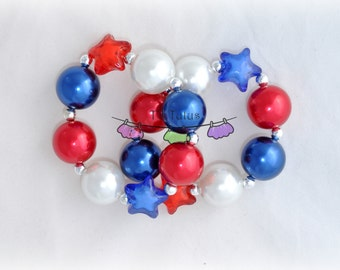 Patriotic chunky beaded bracelet, red, white, and blue, 4th of July, bubblegum bead bracelet, stars, pearls, childrens' chunky bracelet