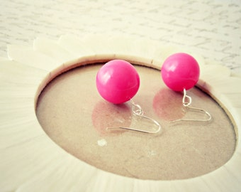 Hot Pink Bead Earrings - Pink Clay Jewelry, Bright Pink, Round Beads, READY TO SHIP