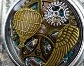 Steampunk Pocket Watch Pendant. Hot Air Balloon Steampunk Pendant. Pocket watch Pendant.