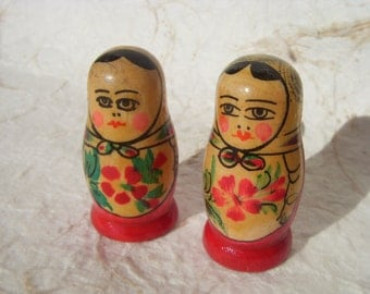 Set of 2 Vintage Russian Wooden Hand Painted Dolls Matryoshkas Made in USSR in 1970s