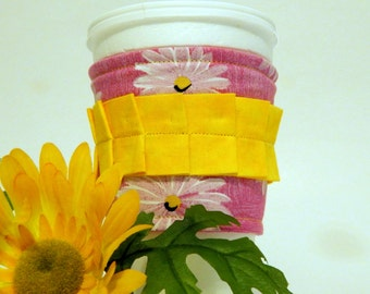 Pink and Yellow Fabric Coffee Cozy/ Cup Sleeve/ Beverage Sleeve/ Coffee Sleeve/ Beverage Coffee Cozy/ Coffee Cup Sleeve