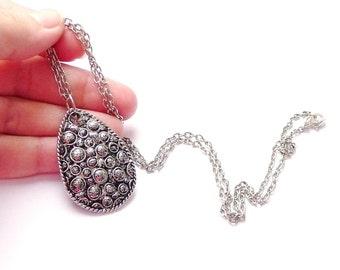 Silver black polymer clay jewelry Polymer clay pendant black necklace. Polymer clay necklace Teardrop polymer necklace, unique black jewelry
