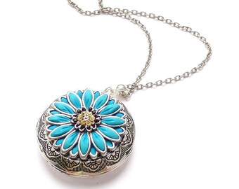 Blue Flower locket necklace jewelry. Polymer clay jewelry Blue locket flower necklace, polymer necklace Red flower necklace polymer jewelry