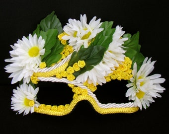 Masquerade Mask, Daisies, Yellow Roses, Garden Party - Field Fairy