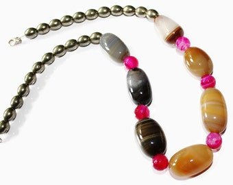 Banded Agate & Pyrite Necklace - Brown Agate Necklace - Pyrite Necklace - Statement