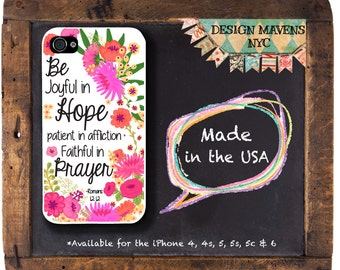 Religious Quote iPhone Case, Christian iPhone Case, Scripture iPhone Case, Floral iPhone Case, iPhone 4, 4s, iPhone 5, 5s, 5c, iPhone 6