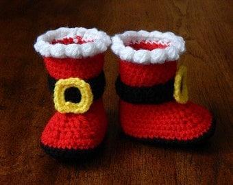 Baby Boots : Santa Boots Newborn-3 Months, 3-6 Months, 6-12 Months, 12-18 Months