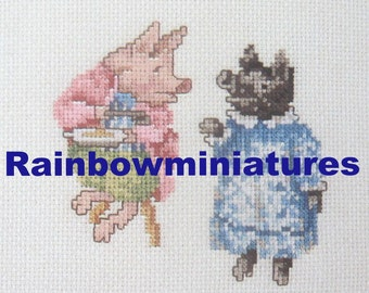 cross stitch beatrix potter pigling bland and sister  CHART INSTRUCTIONS ONLY lakeland artist new