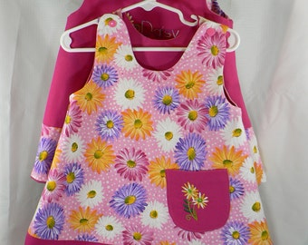 Reversible Dress Toddler and Kids sizes Daisies and pink