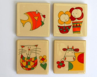 Set of Four Magnets Fridge Magnets Cat Magnet Fish Magnet Cow Magnet Flowers Ceramic Magnet Clay Magnet Pottery Magnet Best Friend Magnets