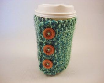 coffee cosy/ coffee cup sleeve/ mug rug in double knitted wool blend /in shades of blue/green ombre/ ready to ship