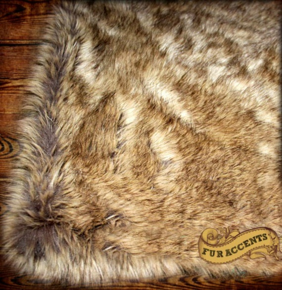 Fur Accents Faux Fur Wolf Skin Area Rug Rectangle 5 By