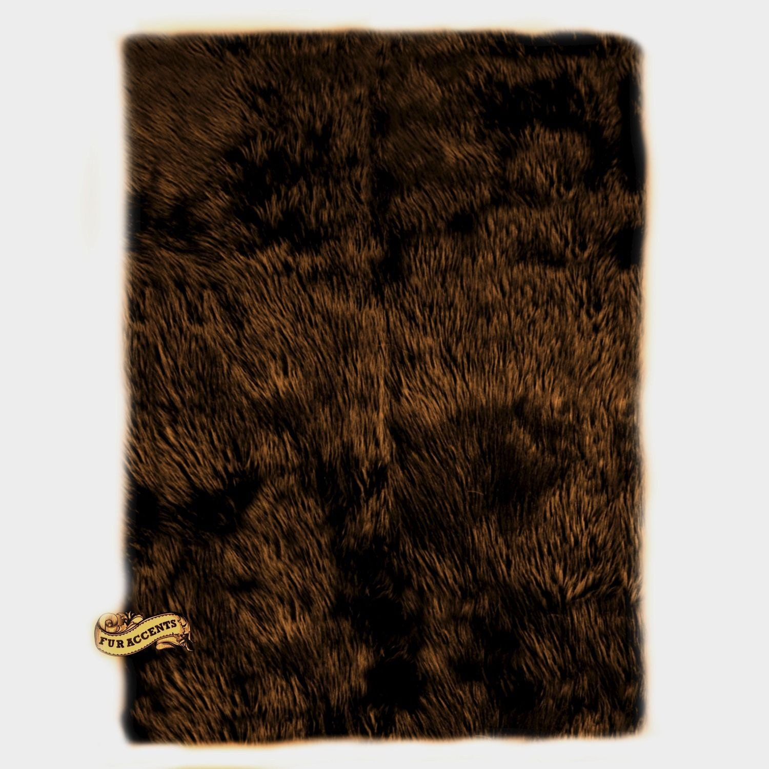 Fur accents faux fur area rug rich sable brown by furaccents for Fur rugs