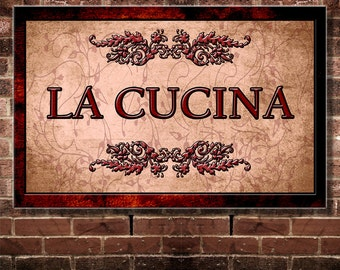 Fine Art, Italian Language La Cucina,  Kitchen Decor For Your Home. 6.25 by 10 inches Print only
